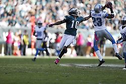 Detroit Lions cornerback Chris Houston (23) intercepts a pass intended for Philadelphia Eagles wide receiver DeSean Jackson (10) during the NFL game between the Detroit Lions and the Philadelphia Eagles on Sunday, October 14th 2012 in Philadelphia. The Lions won 26-23 in Overtime. (Photo by Brian Garfinkel)