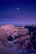 Evening moonrise over Bryce Canyon Bryce Canyon National Park, UTAH