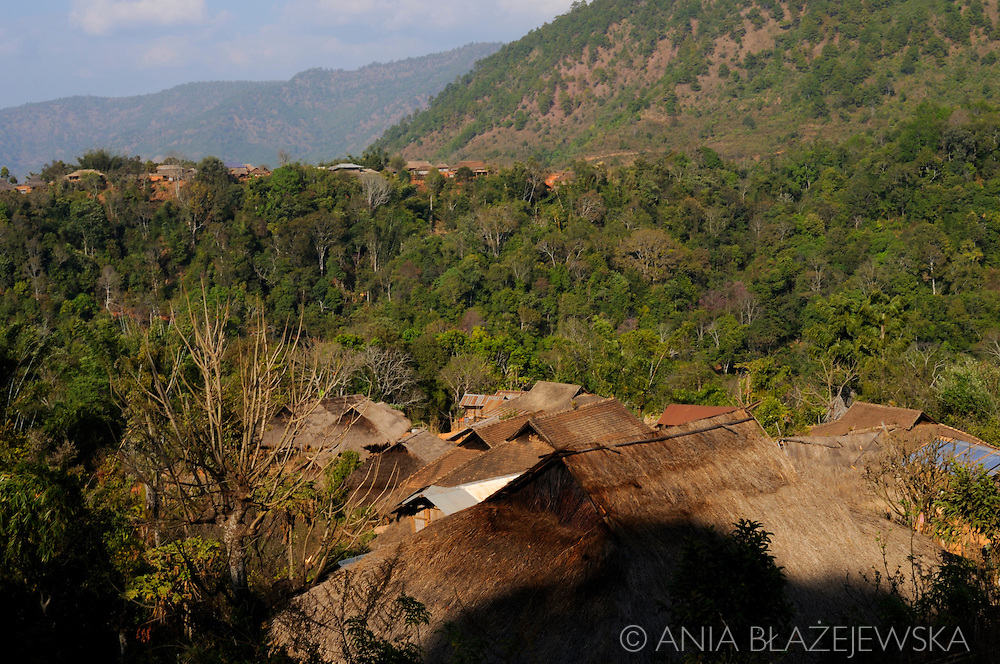 Burma/Myanmar,Golden Triangle. Houses in the Akha village.