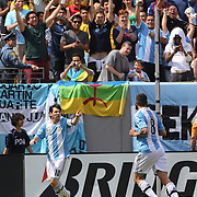 Lionel Messi, Argentina, celebrates after scoring his first goal during the Brazil V Argentina International Football Friendly match at MetLife Stadium, East Rutherford, New Jersey, USA. 9th June 2012. Photo Tim Clayton