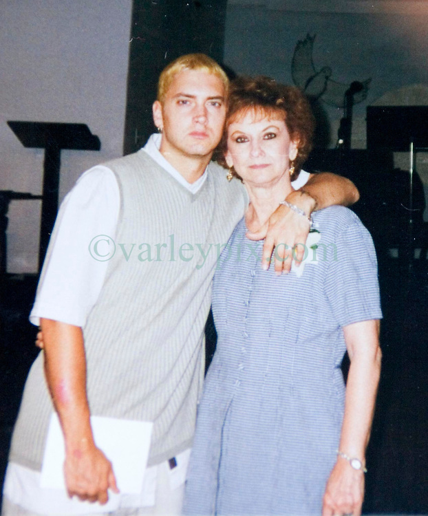 19 Jan,2006. Collect photograph.  Happier days near St Joseph, Kansas. Eminem's maternal grandmother Betty Kresin with her famous rapper grandson Marshall Bruce Masthers III, aka Eminem at his first wedding to Kimberly Anne Scott in 1999. Betty (in 2006) is sad and disappointed that she and her family in Kansas, including Eminem's mother Debbie Nelson were not invited to his recent re-marriage to Kim.<br /> Photo Credit: Kresin via  www.varleypix.com