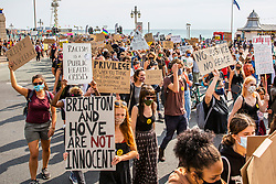 © Licensed to London News Pictures. Hundreds of Black Lives Matter protesters prepare to march through the city centre of Brighton And Hove. Protests have been taking place around the world since the killing of George Floyd by police officers in Minneapolis on 25 May 2020. Photo credit: Hugo Michiels/LNP