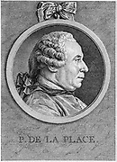 Pierre Simon Laplace (1749-1827), French mathematician and astronomer.  His five volume 'Mecanique celeste' 1799-1825 was the greatest work on celestial mechanics since Newton's 'Principia'. 18th century Engraving.