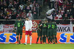 March 23, 2018 - Wroclaw, Poland - Nigerian players celebrate after score during the international friendly match between Poland and Nigeria at Wroclaw Stadium in Wroclaw, Poland on March 23, 2018  (Credit Image: © Andrew Surma/NurPhoto via ZUMA Press)