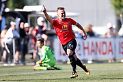 Jacob Richards of Canterbury United celebrates after scoring a goal.<br /> ISPS Handa Men's Premiership football match between Canterbury United and Auckland City at English Park in Christchurch on Sunday 13 December 2020. © Copyright image by Martin Hunter / www.photosport.nz