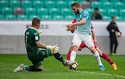 Andrew Hogg of Malta vs Nejc Skubic of Slovenia during football match between National teams of Slovenia and Malta in Round #6 of FIFA World Cup Russia 2018 qualifications in Group F, on June 10, 2017 in SRC Stozice, Ljubljana, Slovenia. Photo by Vid Ponikvar / Sportida