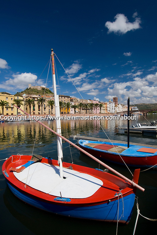 Colorful small wooden fishing boat in village of Bosa on Sardinia in Italy