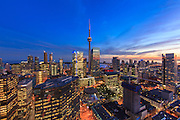 Shangri-La Toronto Sunset - A view to the CN Tower and Lake Ontario at sunset