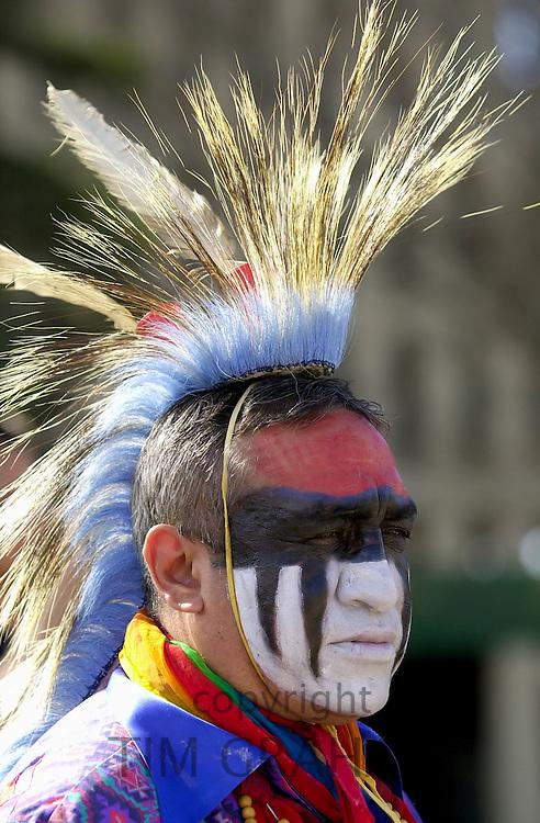Tribes of  plains indians - Sioux, Dakota, Cree and Dene First Nation People, Wanuskewin Heritage Park, Saskatoon, Canada