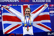 Podium, Flag, Women Elimination Race, Laura Kenny (Great Britain), gold medal, during the Track Cycling European Championships Glasgow 2018, at Sir Chris Hoy Velodrome, in Glasgow, Great Britain, Day 4, on August 5, 2018 - Photo Luca Bettini / BettiniPhoto / ProSportsImages / DPPI - Belgium out, Spain out, Italy out, Netherlands out -