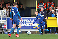 AFC Wimbledon attacker Shane McLoughlin (38) dribbling during the EFL Sky Bet League 1 match between AFC Wimbledon and Gillingham at the Cherry Red Records Stadium, Kingston, England on 23 March 2019.