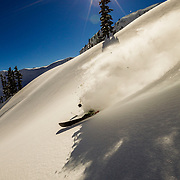 Mark Kogelmann tastes some late afternoon powder in the Mt Baker backcountry.