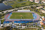 An aerial view of the track and field stadium at the Ansin Sports Complex, Saturday, April 10, 2021, in Miramar, Fla.