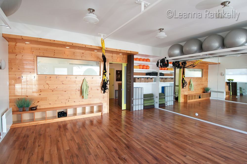 The interior of Thrive Yoga Studio in Victoria,  as designed by Jodi McKeown Foster, makes a small space feel bright and spacious.