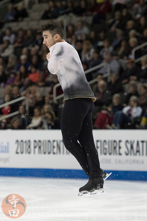 January 4, 2018; San Jose, CA, USA; Max Aaron in the mens short program during the 2018 U.S. Figure Skating Championships at SAP Center.