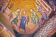 The 11th century Roman Byzantine Church of the Holy Saviour in Chora and its mosaic of the procession of the Virgins. Endowed between 1315-1321  by the powerful Byzantine statesman and humanist Theodore Metochites. Kariye Museum, Istanbul .<br /> <br /> If you prefer to buy from our ALAMY PHOTO LIBRARY  Collection visit : https://www.alamy.com/portfolio/paul-williams-funkystock/holy-saviour-chora-istanbul.html<br /> <br /> Visit our TURKEY PHOTO COLLECTIONS for more photos to download or buy as wall art prints https://funkystock.photoshelter.com/gallery-collection/3f-Pictures-of-Turkey-Turkey-Photos-Images-Fotos/C0000U.hJWkZxAbg