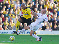 Photo: Leigh Quinnell.<br /> Watford v Hull City. Coca Cola Championship. 20/10/2007. Hulls Wayne Brown gets the ball away from Watfords Marlon King.