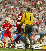 Photo: Aidan Ellis.<br /> Liverpool v Wigan Athletic. The Barclays Premiership. 21/04/2007.<br /> Liverpool's Dirk kuyt scores the first goal