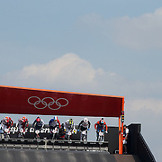 Male competitors at the starting gate during the Cycling BMX Finals Day during the London 2012 Olympic games. London, UK. 10th August 2012. Photo Tim Clayton