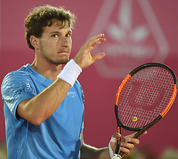LISBON, May 4, 2018  Spain's Pablo Carreno Busta celebrates his vicotry after second round match of Estoril Open Tennis tournament against Argentina's Nicolas Kicker in Cascais, near Lisbon, Portugal, May 3, 2018. (Credit Image: © Zhang Liyun/Xinhua via ZUMA Wire)