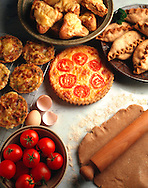 Wholefood - Whole wheat Quice pies & tartes on a marble background