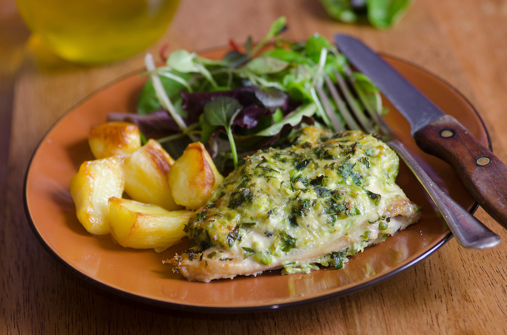 Pea, mint and lemon chicken with roast potatoes and salad