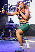 COLUMBIA, MD - May 30, 2015 - SZA performs at the 2015 Sweetlife Festival at Merriweather Post Pavilion in Columbia, MD. Signed to Kendrick Lamar's Top Dawg Entertainment label, SZA has released a number of well received EP's and guested on tracks by Wale and Schoolboy Q. (Photo by Kyle Gustafson / For The Washington Post)