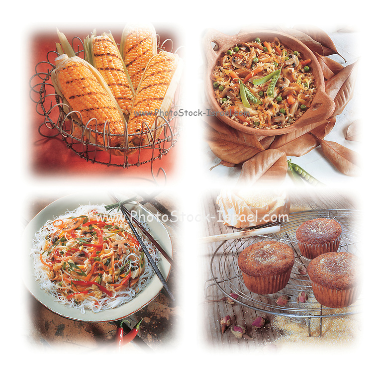 A collage of four food images with grilled corn, chicken and rice dish, noodle salad and muffins