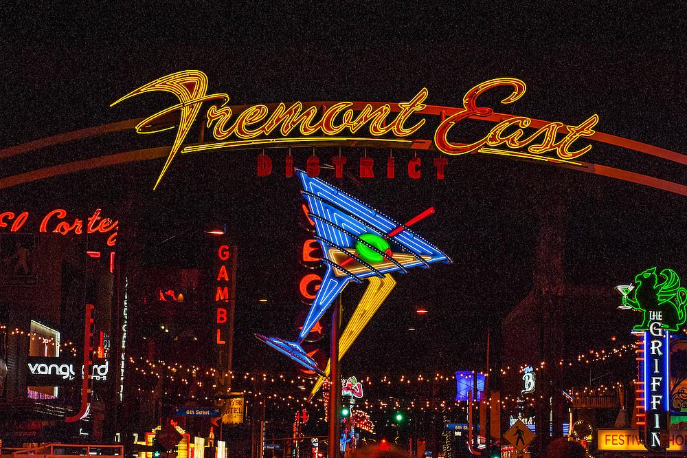 Freemont East District, Downtown Las Vegas, Nevada USA.