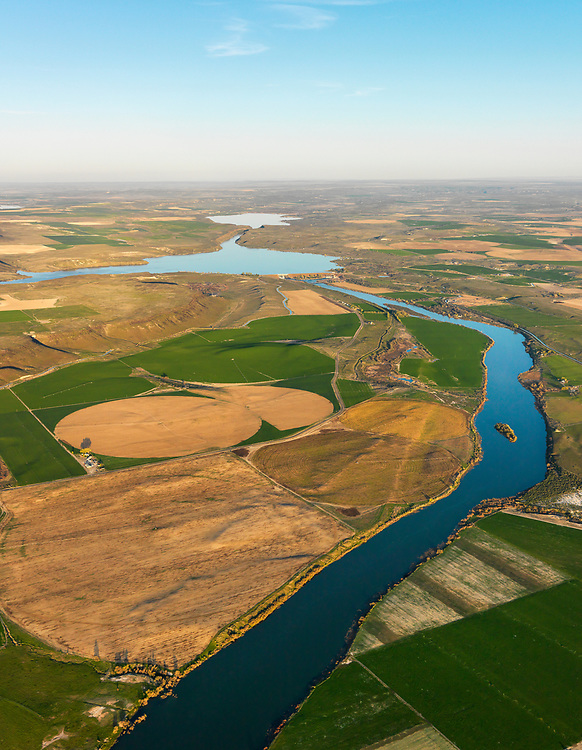 Snake River Aerial view in Springtime with CJ Strike Reservoir in background in the last evening light near Bruneau Idaho