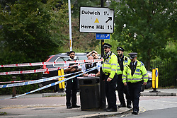 © Licensed to London News Pictures. 09/07/2020. London, UK. The scene at Seeley Drive in West Dulwich, South London where a man, believed to be aged 18, was found stabbed to death on Wednesday evening. Photo credit: Ben Cawthra/LNP