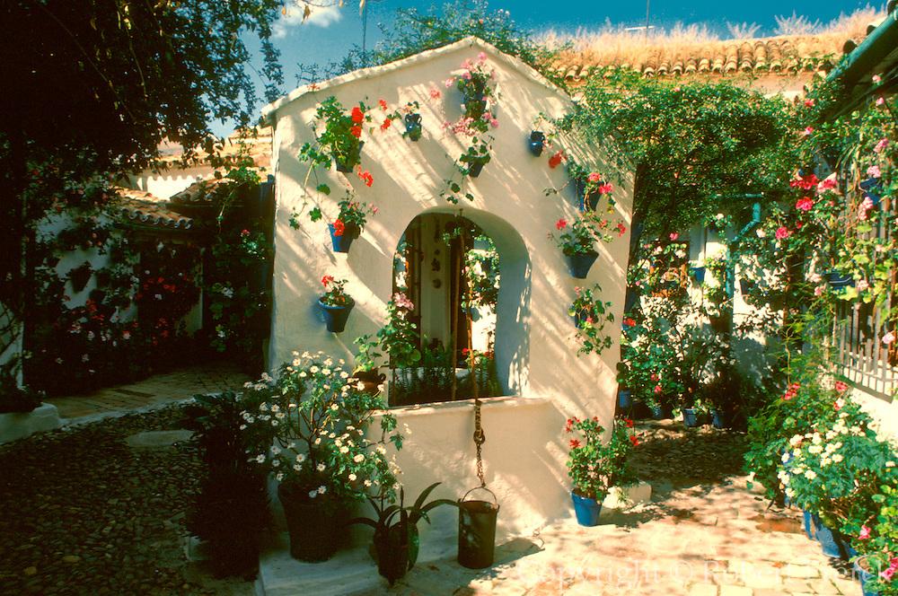 SPAIN, ANDALUSIA, CORDOBA Moorish courtyard with flower pots