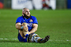 Filippo Alongi of Italy waits for treatment for an injury<br /> <br /> Photographer Craig Thomas/Replay Images<br /> <br /> U20 Six Nations - Wales v Italy  - Friday 31st January 2020 - Stadiwm Zip World (Parc Eirias) - Colwyn Bay<br /> <br /> World Copyright © Replay Images . All rights reserved. info@replayimages.co.uk - http://replayimages.co.uk