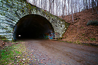 BRYSON CITY, NORTH CAROLINA - CIRCA DECEMBER 2019: Tunnel at the end of the Road to Nowhere at the Lakeview Drive close to Bryson City, in the Smoky Mountains National Park