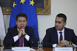 Italy, Caserta -  November 19, 2018.A protocol of understanding on the 'Land of Fires' toxic-waste fire area near Naples (Campania region) signed in Caserta..Premier Giuseppe Conte and deputy Premier Luigi Di Maio attend a press conference. The Interior Minister Matteo Salvini, did not attend   the conference for a dinner at the Quirinale palace.From left  Giuseppe Conte and Luigi Di Maio. (Credit Image: © Garofalo/Giacomino/Ropi via ZUMA Press)