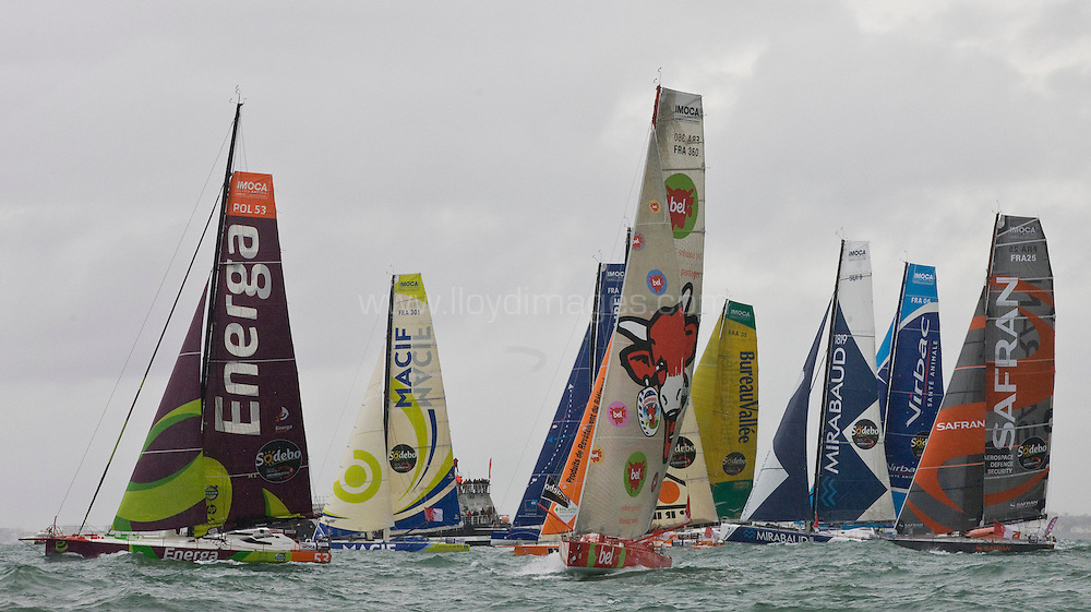The start of solo non stop around the world yacht race - The Vendee Globe 2012. Les Sables d Olonne. France. .Credit: Lloyd Images/DPPI