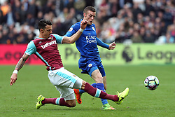 18 March 2017 - Premier League Football - West Ham United v Leicester City<br /> Jose Fonte of West Ham intercepts Jamie Vardy of Leicester<br /> Photo: Charlotte Wilson