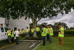 A crew gathers for a meeting to prepare for the incoming Hurricane Irma at Orlando Utilities Commission on September 8, 2017. Photo byAileen Perilla/Orlando Sentinel/TNS/ABACAPRESS.COM