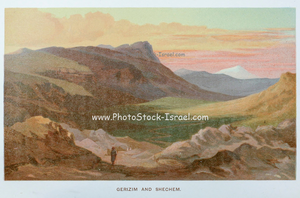Gerizim and Shechem [Mount Gerizim and Nablus. In Samaritan tradition, Mount Gerizim is held to be the highest, oldest and most central mountain in the world] Coloured Illustration of from the book Palestine illustrated by Sir Richard Temple, 1st Baronet, GCSI, CIE, PC, FRS (8 March 1826 – 15 March 1902) was an administrator in British India and a British politician. Published in London by W.H. Allen & Co. in 1888