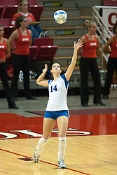 25 SEP 2005<br /> <br /> Creighton Bluejays Korie Lebeda serves during the second game of the match.<br /> <br /> The Creighton Bluejays failed to win a single game as the Illinois State Redbirds won 3 in a row to settle the match.  Play took place at Redbird Arena on the campus of Illinois State University in Normal IL.