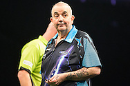 Phil Taylor heading for defeat in the final during the Betway Premier League Darts Play-Offs at the O2 Arena, London, United Kingdom on 19 May 2016. Photo by Shane Healey.