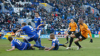 Photo: Steve Bond/Richard Lane Photography. <br />Leicester City v Hull City. Coca Cola Championship. 21/03/2008. Caleb Folan (R) gets a shot in