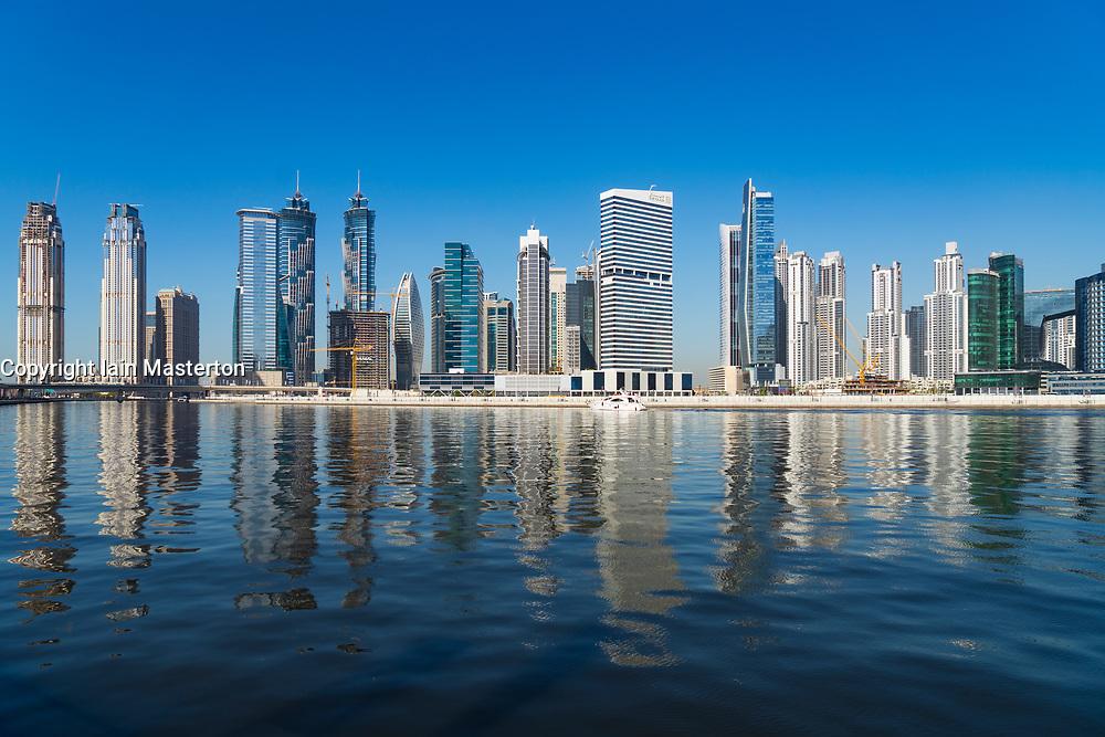 Daytime view of modern skyline of Business Bay in Dubai, United Arab Emirates
