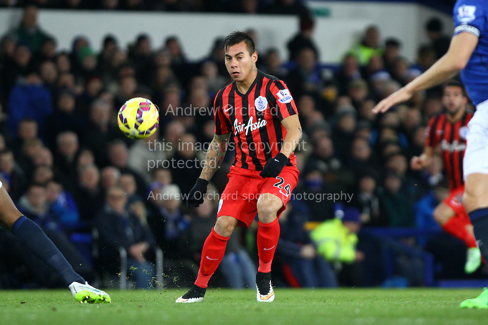 Eduardo Vargas of Queens Park Rangers watches as his shot goes wide. Barclays Premier league match, Everton v Queens Park Rangers at Goodison Park in Liverpool, Merseyside on Monday 15th December 2014.<br /> pic by Chris Stading, Andrew Orchard sports photography.