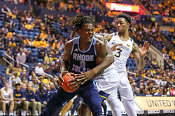 Dec 1, 2019; Morgantown, WV, USA; Rhode Island Rams forward Jermaine Harris (0) drives baseline during the first half against the West Virginia Mountaineers at WVU Coliseum. Mandatory Credit: Ben Queen-USA TODAY Sports