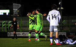 Udoka Godwin-Malife of Forest Green Rovers celebrates his goal after making it 3-0- Mandatory by-line: Nizaam Jones/JMP - 27/02/2021 - FOOTBALL - The innocent New Lawn Stadium - Nailsworth, England - Forest Green Rovers v Colchester United - Sky Bet League Two