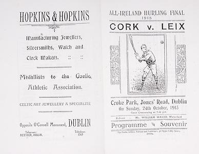 All Ireland Senior Hurling Championship Final,.24.10.1915, 10.24.1915, 24th October 1915,.Laois 6-2, Cork 4-1, .Senior Laois v Cork, .Croke Park, .24101915AISHCF,..Advertisements, Hopkins & Hopkins Jewellers Silversmiths Watch and Clock Makers,