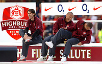 Photo: Daniel Hambury.<br />Arsenal v Wigan Athletic. The Barclays Premiership. 07/05/2006.<br />Arsenal's L-R<br />Robert Pires, Thierry Henry and Ashley Cole enjoy a joke at the end of the game.