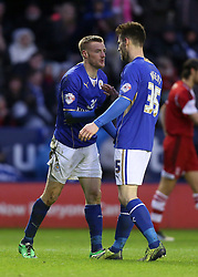 Leicester City's Jamie Vardy celebrates his goal with Leicester City's David Nugent - Photo mandatory by-line: Matt Bunn/JMP - Tel: Mobile: 07966 386802 25/01/2014 - SPORT - FOOTBALL - King Power Stadium - Leicester - Leicester City v Middlesbrough - Sky Bet Championship