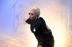Emily Sande performing on the Other Stage at Glastonbury Festival, at Worthy Farm in Somerset.
